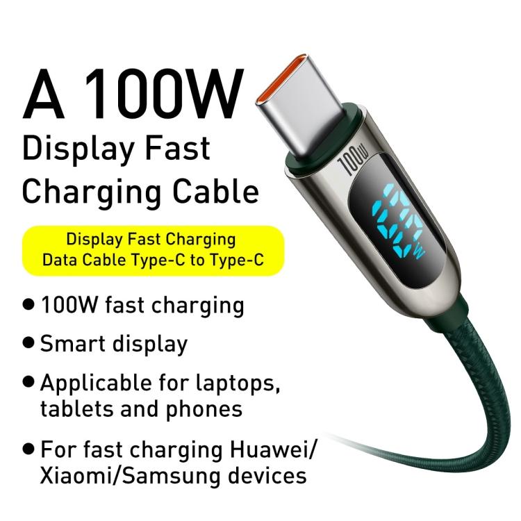 Baseus CATSK-C06 Fast Charging Datový Kabel USB-C - USB-C 100W 2m Green 6